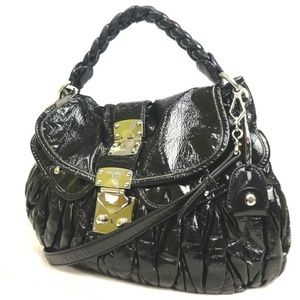 miu miu 2WAY Matelasse black gold patent braid bag